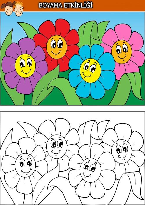 Dört sevimli çiçek boyama etkinliği