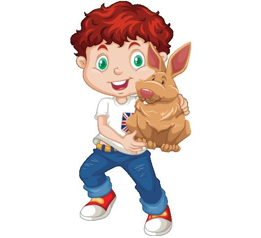 Clipart kucağında tavşan tutan kızıl saçlı erkek çocuk resmi