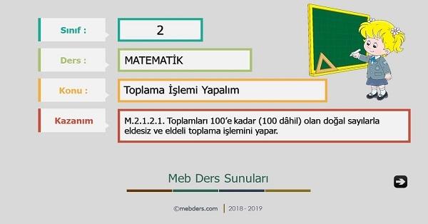 2.Sınıf Matematik Toplama İşlemi Yapalım Sunusu