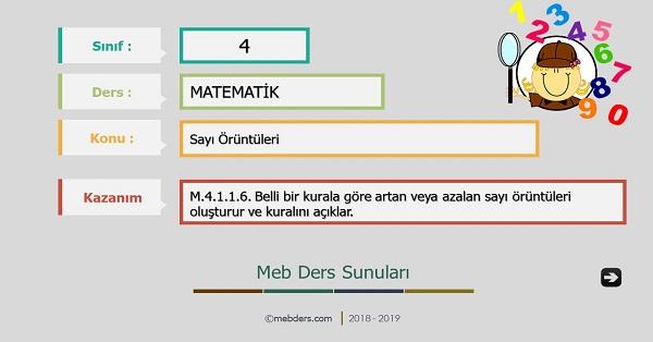 4.Sınıf Matematik Sayı Örüntüleri Sunusu