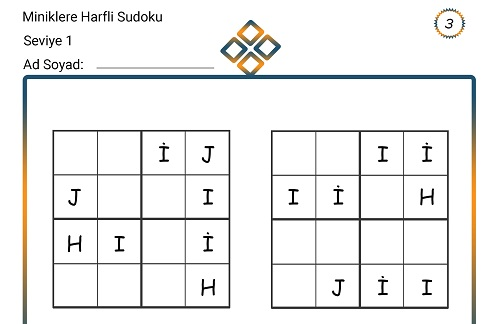 Miniklere Harfli Sudoku 3