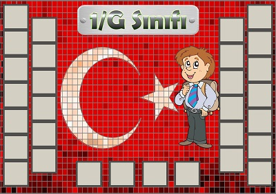 Model 54, 1G şubesi için Türk bayraklı fotoğraf eklemeli kapı süslemesi - 30 öğrencilik