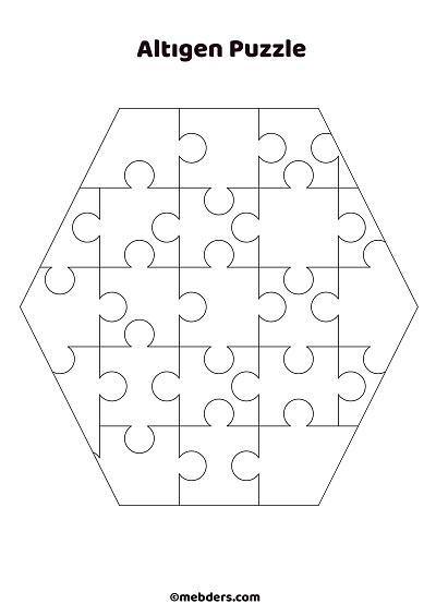 Altıgen puzzle şablon