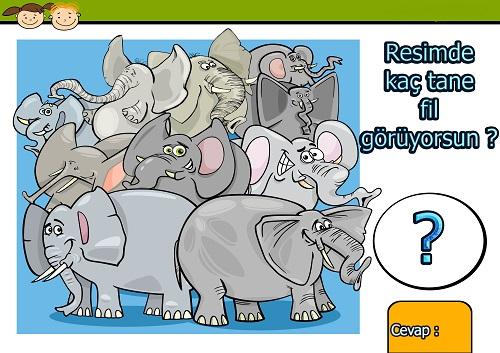 Resimde kaç tane fil var ? Eğlenceli matematik etkinliği