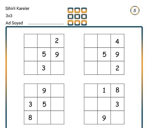 Sihirli Kareler (3x3) Zeka Etkinliği 5