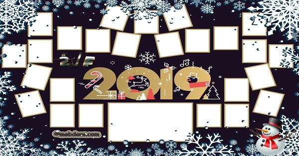 2F Sınıfı için 2019 Yeni Yıl Temalı Fotoğraflı Afiş (25 öğrencilik)