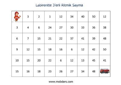 Labirentte 3'erli Ritmik Sayma