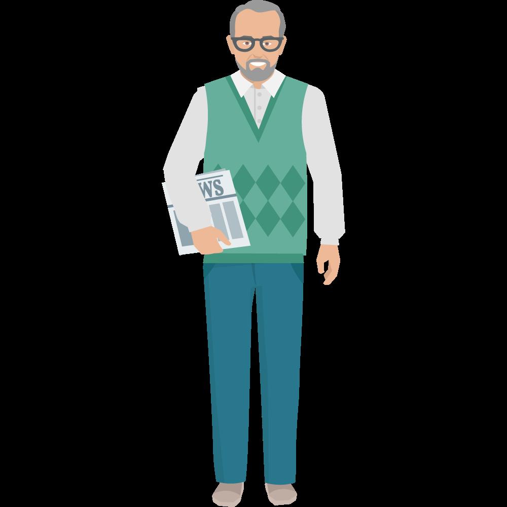 Clipart elinde gazetesiyle gözlüklü yaşlı adam resmi