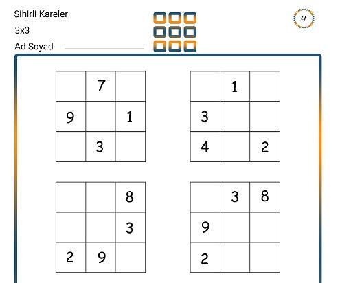 Sihirli Kareler (3x3) Zeka Etkinliği 4
