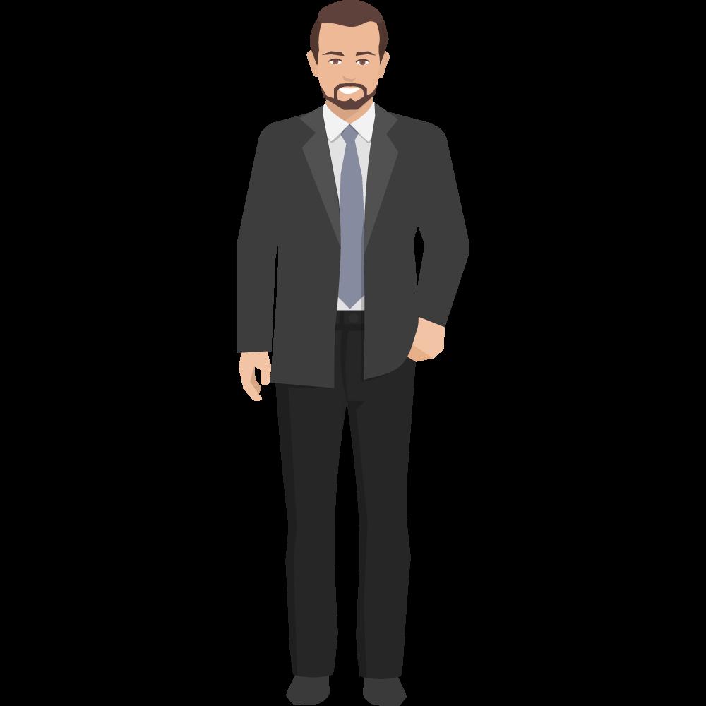 Clipart siyah takım elbiseli tek eli cebinde yetişkin erkek resmi