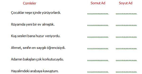 4.Sınıf Türkçe Somut ve Soyut Ad Etkinliği