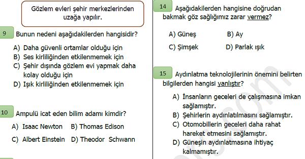 4.Sınıf Fen Bilimleri Aydınlatma ve Ses Teknolojileri Değerlendirme Etkinliği