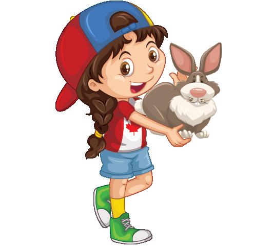 Clipart kucağında tavşan tutan şapkalı kız çocuk resmi