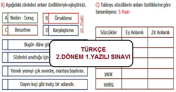 4.Sınıf Türkçe 2.Dönem 1.Yazılı Sınavı