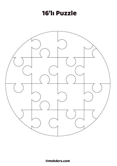 16'lı çember puzzle şablon