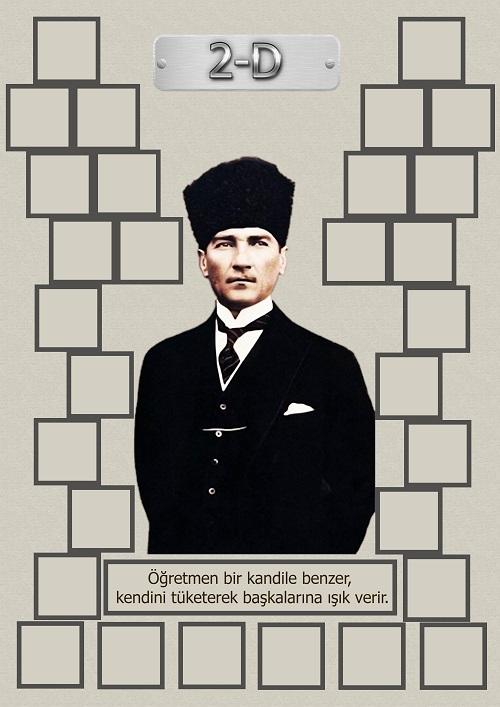 Model 15, 2D şubesi için Atatürk temalı, fotoğraf eklemeli kapı süslemesi - 30 öğrencilik