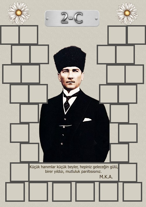 Model 15, 2C şubesi için Atatürk temalı, fotoğraf eklemeli kapı süslemesi - 30 öğrencilik