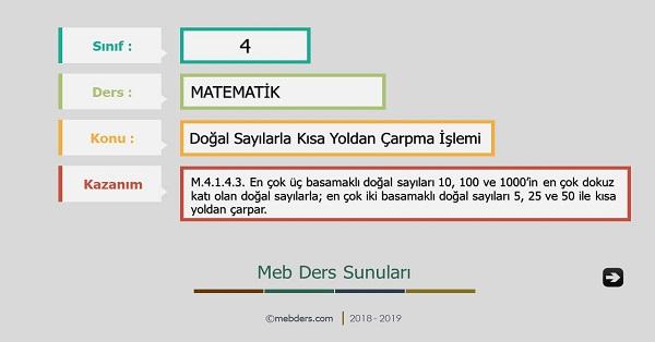 4.Sınıf Matematik Doğal Sayılarla Kısa Yoldan Çarpma Sunusu