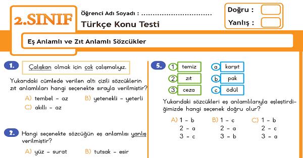 2.Sınıf Türkçe Eş Anlamlı ve Zıt Anlamlı Sözcükler Konu Tarama Testi