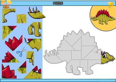 Kes yapıştır dinozor puzzle etkinlik