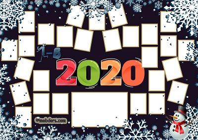 1B Sınıfı için 2020 Yeni Yıl Temalı Fotoğraflı Afiş (27 öğrencilik)