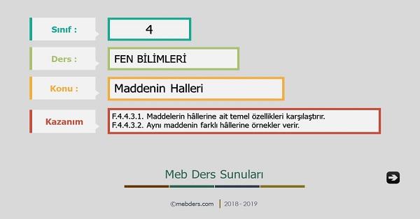 4.Sınıf Fen Bilimleri Maddenin Halleri Sunusu