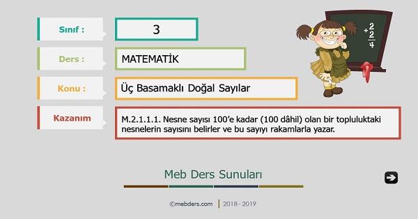 3.Sınıf Matematik Üç Basamaklı Doğal Sayılar Sunusu