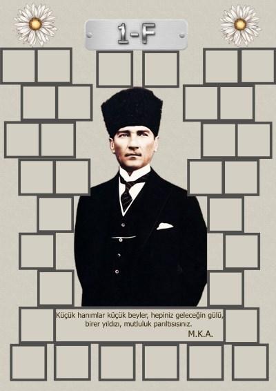 Model 15, 1F şubesi için Atatürk temalı, fotoğraf eklemeli kapı süslemesi - 32 öğrencilik