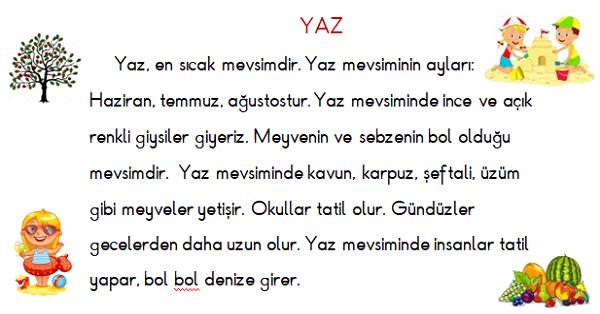 1 Sinif Turkce Ilkbahar Ve Yaz Mevsimi Okuma Ve Anlama Etkinligi