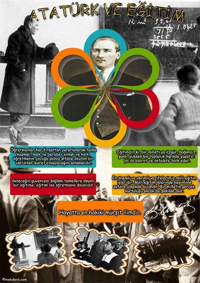 A3 Boyutunda Atatürk ve Eğitim Afişi