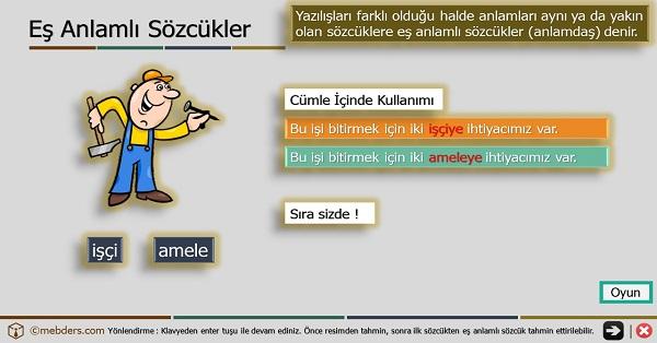 4.Sınıf Türkçe Oyunlu ve Şarkılı Eş Anlamlı Kelimeler Sunusu
