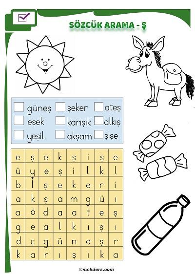 1.Sınıf İlkokuma Boyamalı Sözcük Arama Etkinliği - Ş Sesi