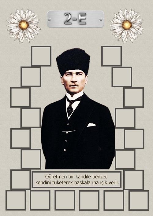 Model 15, 2E şubesi için Atatürk temalı, fotoğraf eklemeli kapı süslemesi - 20 öğrencilik