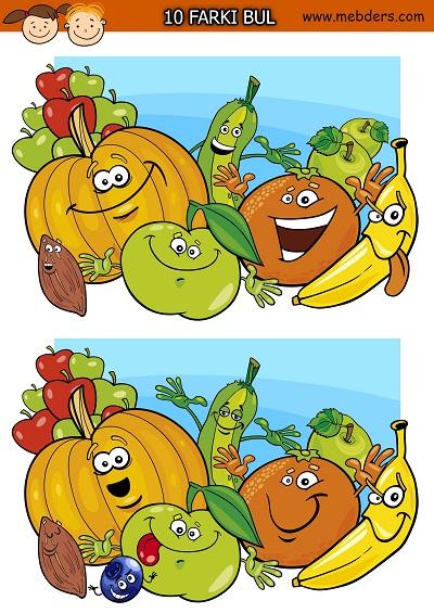Sevimli meyveler arasındaki 10 farkı bulma etkinliği