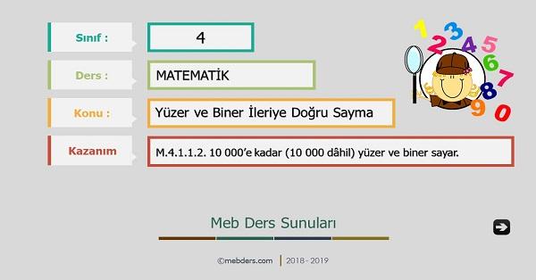 4.Sınıf Matematik Yüzer ve Biner İleriye Sayma Sunusu