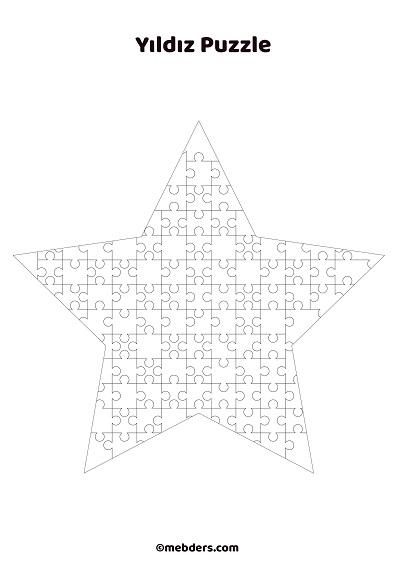 Yıldız puzzle şablon