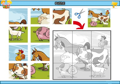 Kes yapıştır çiftlik hayvanları puzzle etkinlik
