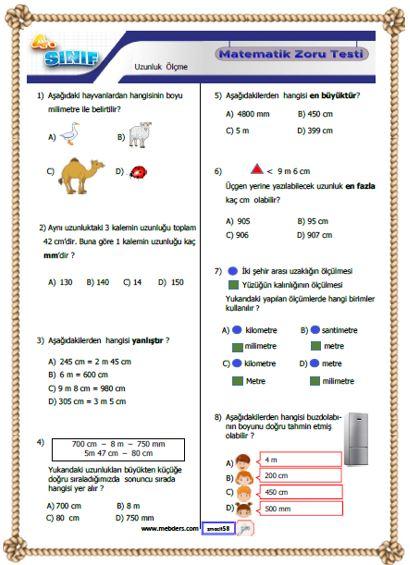 4. Sınıf Matematik Uzunluk Ölçme Kazanım Testi ( Zoru )