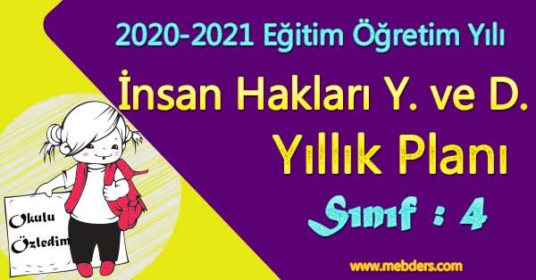 2020 - 2021 Yılı 4.Sınıf İnsan Hakları, Yurttaşlık ve Demokrasi Yıllık Planı
