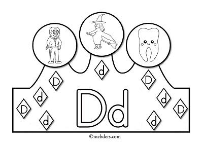 1.Sınıf İlkokuma Harfli Taçlar - D Sesi