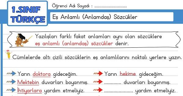 1.Sınıf Türkçe Eş Anlamlı (Anlamdaş) Sözcükler Etkinliği
