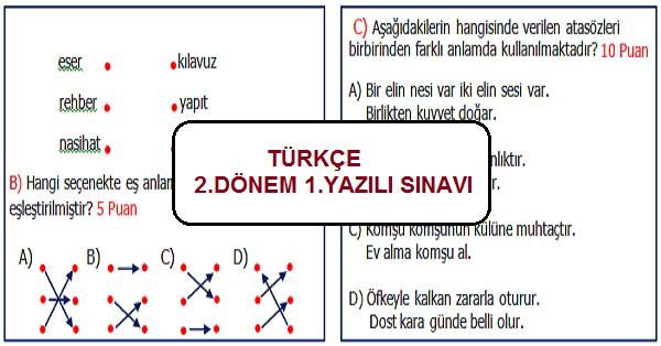 4.Sınıf Türkçe 2.Sınav 1.Yazılı Sınav Etkinliği