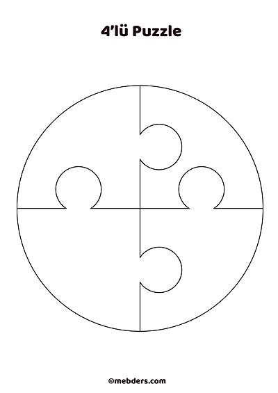 4'lü çember puzzle şablon