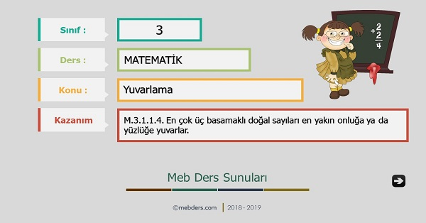 3.Sınıf Matematik Yuvarlama Sunusu