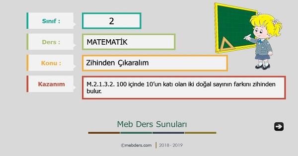 2.Sınıf Matematik Zihinden Çıkaralım Sunusu