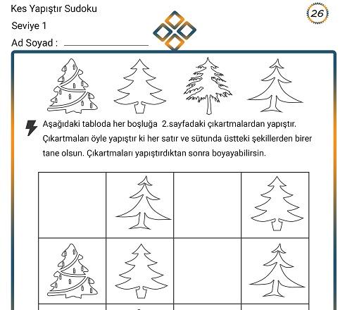 Kes Yapıştır Sudoku Etkinliği 26 (Seviye 1)