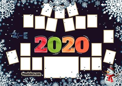 2E Sınıfı için 2020 Yeni Yıl Temalı Fotoğraflı Afiş (18 öğrencilik)