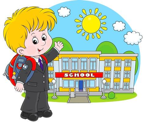 Clipart okulu önünde poz veren erkek çocuk resmi png