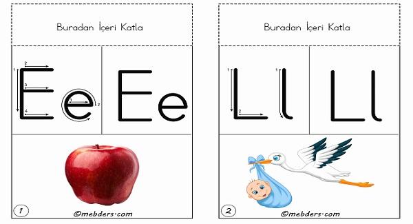 Duvara, panoya, ipe asmak için 1.grup harfler tam boy ses kartları