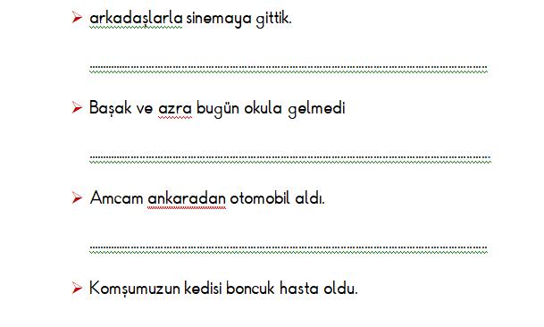 1.Sınıf Türkçe Yazım Yanlışları Etkinliği 3